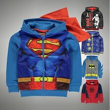 Kids Boys Superhero Print Zip Hooded Jacket Batman Spiderman Superman