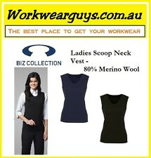 Ladies Scoop Neck Vest 80% MERINO WOOL, Office Corporate S-3XL (BIZ COLLECTION)