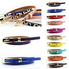 Hot Fashion Women Multicolor Waistband PU Leather Thin Skinny Buckle Belts AG