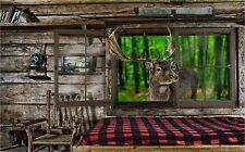 BUCK DEER LOOKING IN A CABIN  PLACEMATS RUBBER BACKED / FABRIC TOP