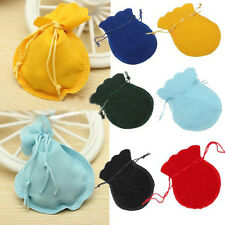 LOT 10 multi-color Velvet Drawstring Wedding Jewelry Pouch Gift Bag 9x7cm