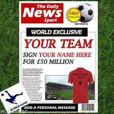 PERSONALISED FOOTBALL NEWSPAPER - CHRISTMAS GIFT FOR HIM DAD BOYFRIEND DADDY