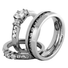 His Hers 3 PCS Her Stainless Steel Wedding Ring Set and His All Around CZ Band