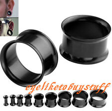 Pair(2) Steel Double Flare Hollow Black Tunnels Ear Plug Flesh Earlet Stretcher