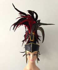 Black Roman Gothic Warrior Hero Bird Feather Mohawk Headdres Costume