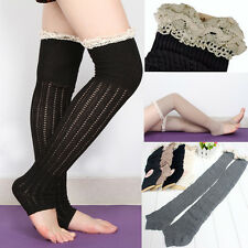 2014 Womens Crochet White Lace Trim Cotton Knit Leg Warmers Boot Socks Knee High