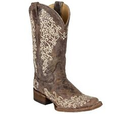 Womens Corral Brown/Bone Wedding Embroidered Western Square Toe Cowboy Boots