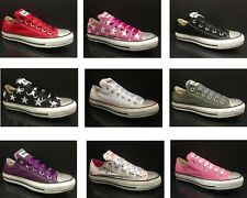 Womens Girls Customised Diamonds Converse All Star OX Canvas Trainers 10 Colours