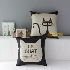 Sofa Decor Cotton Linen Throw Cute Pillow Case Cushion Cover Square Cartoon Cat