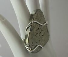 Large chic modern gold PYRITE nugget sterling silver ring 5 6 7 8 9 13 any size