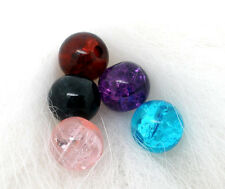 200PCs Mixed Crackle Glass Round Beads Findings6mm dia.