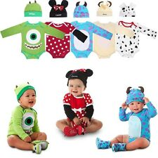2pcs Infant Newborn Baby Boy Girl Romper Jumpsuit + Hat Cotton Set Clothes 0-18M