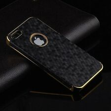 Luxury Leather Chrome Hard Cell Phone Back Case Cover For Apple iPhone 5 5S 5G