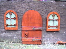 Handcrafted Classic Fairy Door with Windows for Garden Elves, Hobbits & Gnomes