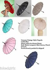 NEW Tatyana Vintage 50s Parasol Umbrella Navy Black Leopard Red Mint Gothic Punk