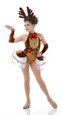 ROCKIN Reindeer Christmas Dance Costume Pageant w/ Arm Mitts NEW CXS- 3XL Jazz