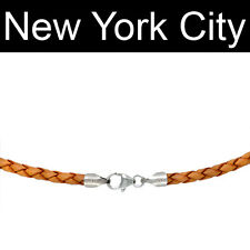 "2mm Natural Braided Bolo Leather Cord Necklace Silver 20"" New York City"