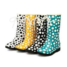 Plus Size Sweet Girl Womens Dots Flat mid-calf rain boots lace up Patent Leather