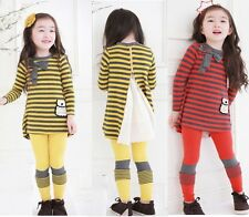 Girls Kids Striped Bow Tops+Leggings 2 Pieces Outfits Sets 3-8T Children Clothes