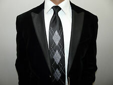 Mens INSERCH Velvet Jacket Satin Peak Lapel Formal Amy Award Performer 525 Black