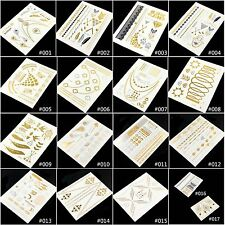 1 Sheet Temporary Metallic Tattoo Gold Silver Black Flash Tattoos Inspired New