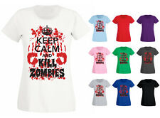 Womens Keep Calm and Kill Zombies Blood Hands T-shirt NEW UK 6-18