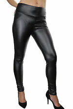 NEW (1458) Ladies Super Skinny Sexy Leather Look Jeggings Jeans Black 8-18