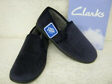 Clarks King Spire Navy Velour Fabric Classic Twin-Gusset Slippers