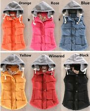 Womens Windprof Worm Candy Color Sports Running Jacket Hooded Cotton Vest Top