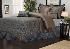 Westerly 7 Piece Grey & Brown Comforter Bedding Set Bedroom Set Bed in a Bag
