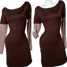 Luxury Cashmere Knitted Dress Long Jumper Boots Dress 36 38 40 42 Brown Dress