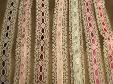 LACE,3 Yards, White Beading Lace with Ribbon,APPAREL,SACHET TRIM,BOWS,LINGERIE