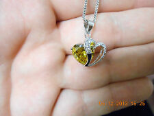 Plated Sterling Silver Heart Shape Pendant Necklace