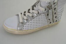 ASH SCARPA SNEAKER ALTA DONNA-WOMAN SHOES N.36 BIANCO-ARGENTO SUBWAY 95624 DIFET