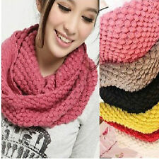 Popular Women Winter Warm Infinity 2Circle Cable Knit Cowl Neck Long Scarf Shawl