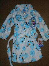 NWT Disney's Frozen Character Robe Girl's Plush Bathrobe - Olaf Anna Elsa