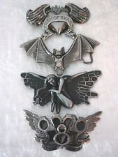 QUEEN OF HEARTS BAT FAIRY WINGS KNUCKLE DUSTER DEVIL FLAMES BELT BUCKLE GOTHIC