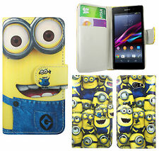 Despicable Me Minion PU Leather Wallet Case Cover For Sony Xperia M / Xperia M2