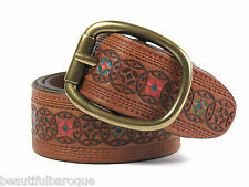 Fossil Signature Medallion Embroidered Pecan Leather Single Prong Belt NWT