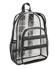 Valubag Black Accent Clear Backpack VB5001 Stadium See Through Bag