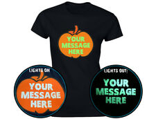 Your Text Halloween Personalised Pumpkin Glow In The Dark Womens T-Shirt (12 Col