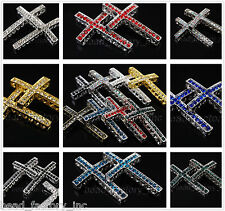 Wholesale 35mm Rhinestone Cross Design Jewelry Bracelet Charm Findings Connector
