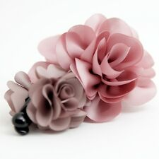 Handmade Two Flower Banana Hair Clip Fabric Floral Claw Accessories