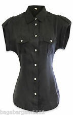 RRP £95 NEW KAREN MILLEN BLACK SILVER SMART BLOUSE SHIRT TUNIC TOP OFFICE PARTY