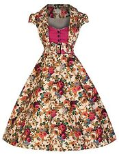 NEW LINDY BOP 'GENEVA' VINTAGE 50'S TAILORED ROCKABILLY DRESS IN CHINTZ PRINT