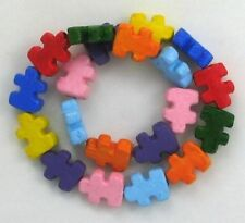 "Hand Painted Ceramic Beads, 1/2"" Multi-color Puzzle Piece Design, New"