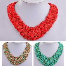 Ethnic Gallant Wood Bead Weave Bohemian Strand Bib Chunky Pendant Necklace Z362