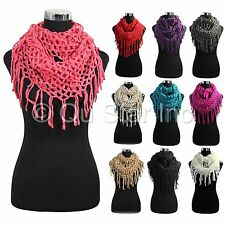 New Fashion Fishnet Knit Fringe Net Crochet Solid Color Cowl Loop Infinity Scarf