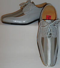 Mens Gorgeous Silver Gray Satin Stripe Silvertip Dress Shoes Expressions 4925
