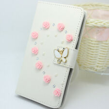 Diamonds flower butteryfly PU leather wallet flip slot Case cover for iPhone